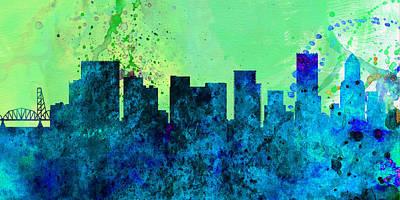 Panoramic Painting -  Portland City Skyline by Naxart Studio