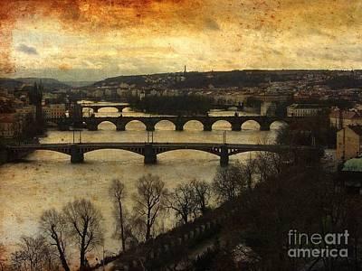 Prague Landscape With Vltava River Print by Maggie Vlazny