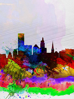 Capital Cities Painting -  Providence Watercolor Skyline by Naxart Studio