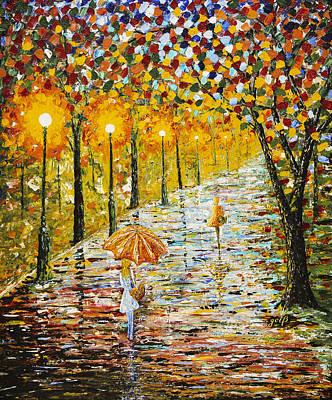 Rainy Autumn Beauty Original Palette Knife Painting Original by Georgeta Blanaru