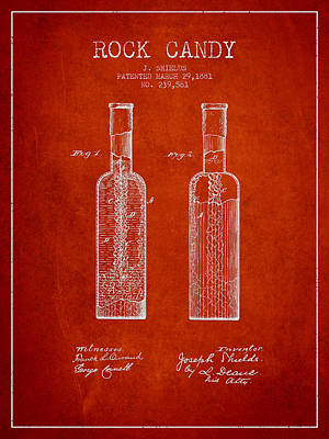 Candy Digital Art -  Rock Candy  Patent Drawing From 1881 - Red by Aged Pixel