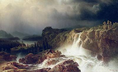 Marcus Painting -  Rocky Landscape With Waterfall In Smaland by Marcus Larson