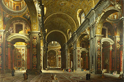 Giovanni Paolo Panini Painting - Rome. The Interior Of St Peter's by Giovanni Paolo Panini