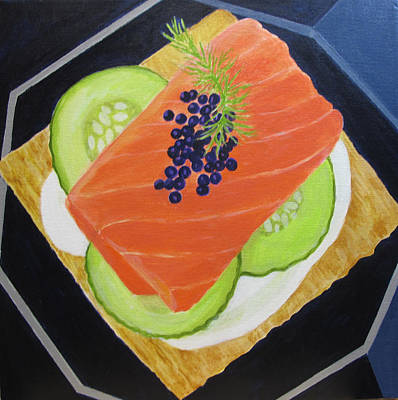 Salmon Painting -  Salmon And Caviar Canape by Toni Silber-Delerive