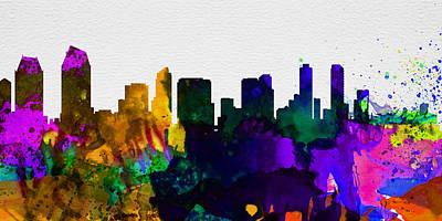 Panoramic Painting -  San Diego City Skyline by Naxart Studio