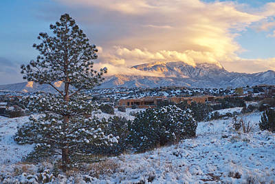 Sandia Mountains With Snow At Sunset Print by Mary Lee Dereske