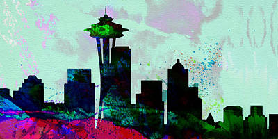 Seattle Skyline Painting -  Seattle City Skyline by Naxart Studio