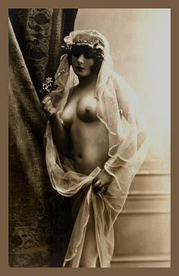 Sexy Nude Sepia Tone Print by Studio Artist