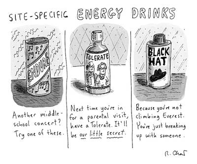 Energy Drawing -  Site-specific Energy Drinks A Series Of Energy by Roz Chast
