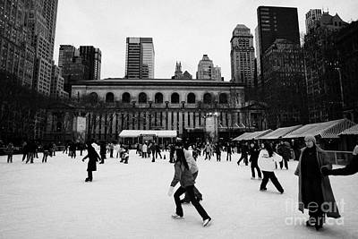 Skating On The Ice At Bryant Park Ice Skating Rink New York City  Print by Joe Fox