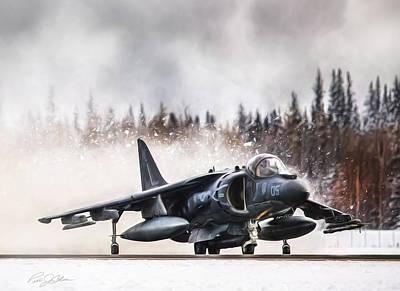 Harrier Digital Art -  Snow Angel Harrier by Peter Chilelli