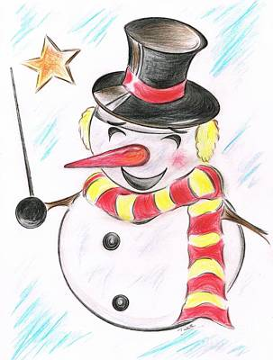 Black Top Mixed Media -  Snowmans  Stardom by Teresa White