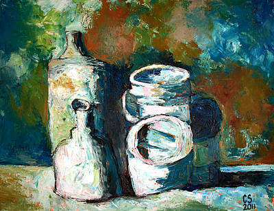 High Key Painting -  Sold Containers Of Opinion  by Charlie Spear