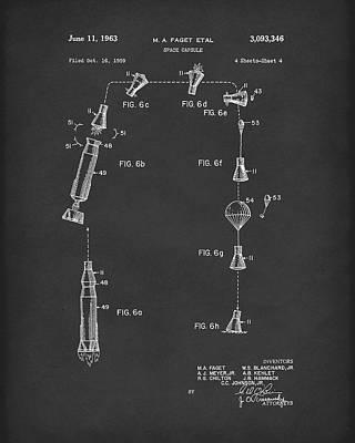 Space Capsule 1963 Patent Art Black Print by Prior Art Design