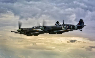 Raf Photograph -  Spitfires Double Trouble by Jason Green