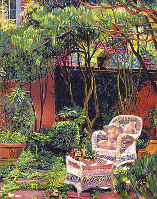 Wicker Chair Painting -  Sunny Summer Patio by David Lloyd Glover