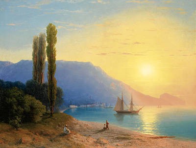 Tree At Sunset Painting -  Sunset Over Yalta by Ivan Konstantinovich Aivazovsky