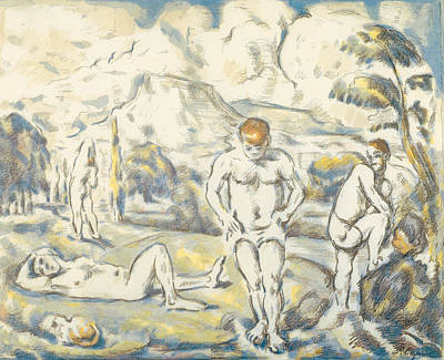 Paul Cezanne Painting - The Bathers Large Plate by Paul Cezanne