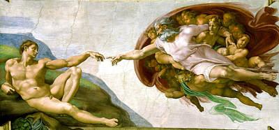 White Beard Painting -   The Creation Of Adam by Michelangelo di Lodovico Buonarroti Simoni