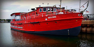 The Great Lakes  Fred A Busse Chicago Fireboat  Sturgeon Bay  Wisconsin Print by Carol Toepke