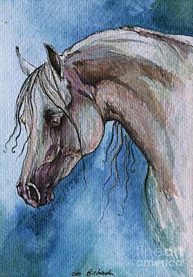 The Grey Arabian Horse 5 Print by Angel  Tarantella