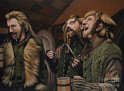 Tolkien Painting -  The Hobbit And The Dwarves by Paul Meijering