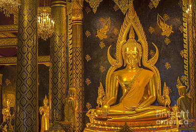 Statue Portrait Photograph -  The Main Hall Of Wat Thardtong With Golden Buddha Statue by Anek Suwannaphoom