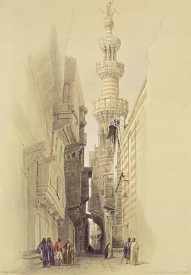 Bazaar Painting -  The Minaret Of The Mosque Of El Rhamree by David Roberts