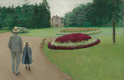 The Park Of The Caillebotte Property At Yerres Print by Gustave Caillebotte