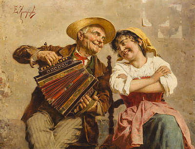 Old Culture Painting -  The Serenade by Eugenio Zampighi
