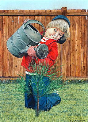 Egg Tempera Drawing -  The Young Arborist by William Goldsmith