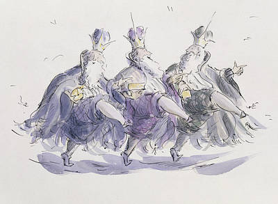 Three Kings Dancing A Jig Print by Joanna Logan
