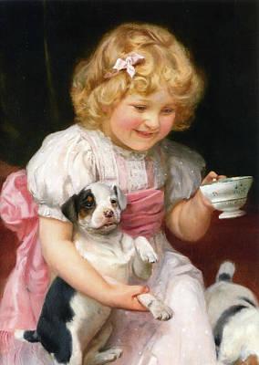 Puppies Digital Art -  Too Hot Detail by Arthur John Elsley