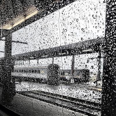Train Photograph - Train And Rain by Kreddible Trout