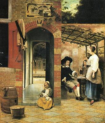 Netherlands Painting -  Two Carousing Men And A Woman Under A Gazebo In The Yard by Pieter de Hooch