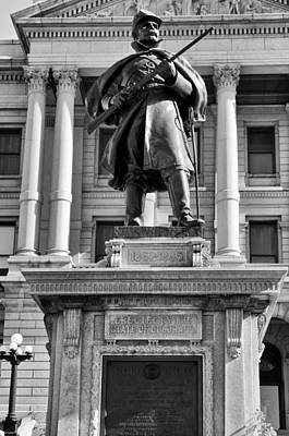 Capitol Building Mixed Media -  Union Solider At Denver State Capitol Building Bw by Angelina Vick