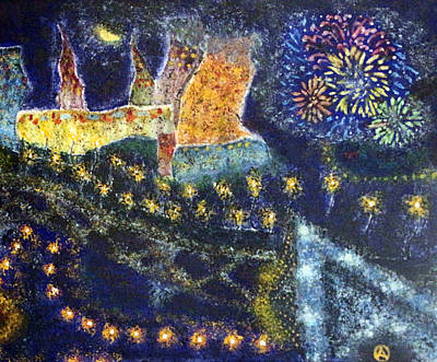 Fireworks Drawing - Vangogh Firework Dream by Osama Afram