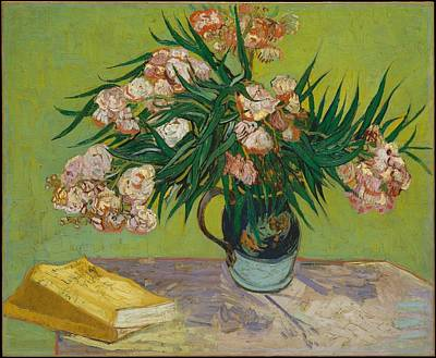 Oleanders Painting -   Vase With Oleanders And Books by Vincent van Gogh