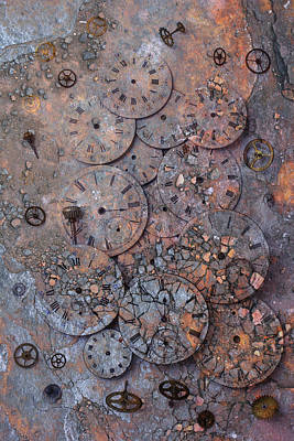 Watch Faces Decaying Print by Garry Gay