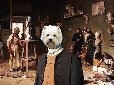 Westie Terrier Painting -  West Highland White Terrier Art Canvas Print by Sandra Sij