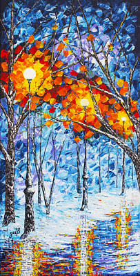 Winter Scenes Painting -  Silence Winter Night Light Reflections Original Palette Knife Painting by Georgeta Blanaru