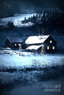 Snow Scene Of A Farmhouse At Night/ Digital Painting Print by Sandra Cunningham