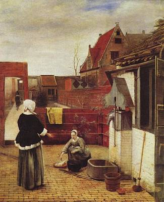 Netherlands Painting -  Woman And Maid In A Courtyard by Pieter de Hooch