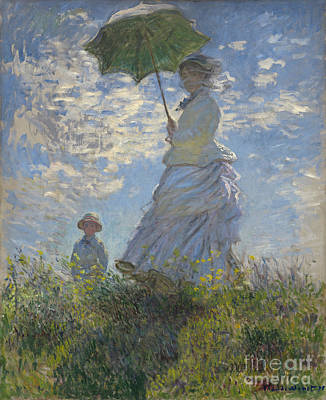 French Signs Painting -  Woman With A Parasol Madame Monet And Her Son by Claude Monet