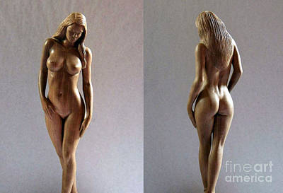 Wood Sculpture Of Naked Woman Print by Carlos Baez Barrueto