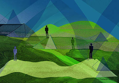 Twilight Zone Painting - 009 - Men In Landscape   by Irmgard Schoendorf Welch