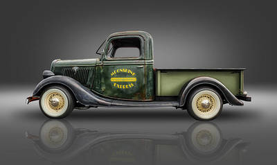 Ford Street Rod Photograph - 1935 Ford Pickup - Moonshine Express by Frank J Benz
