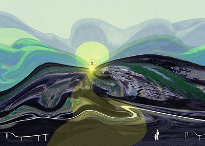 Fay Digital Art - 033 -  Mountain Morning With Angel   by Irmgard Schoendorf Welch