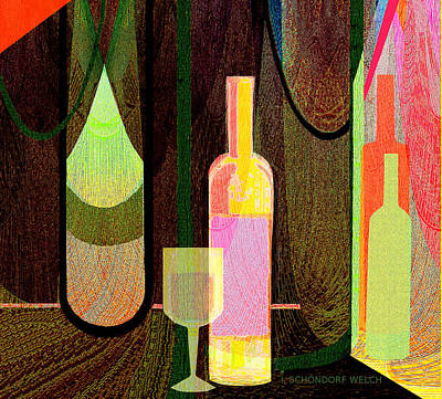 Expressive Expressions Digital Art - 064 -  Still Life With  Bottle by Irmgard Schoendorf Welch