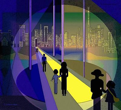 Luminescent Digital Art - 070 - Nightwalking To The Golden City    by Irmgard Schoendorf Welch